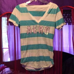 Aeropostale teal and white striped tee with logo